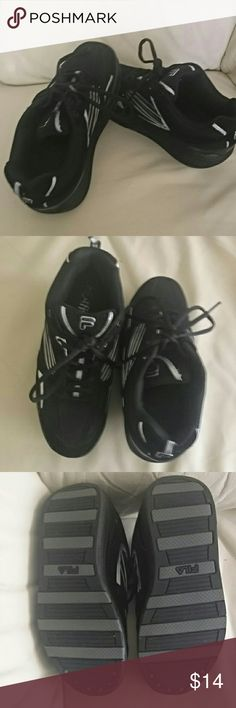 Fila Walk-N-Sculpt Shoes Black upper/lower with laces and reflective stripes. Barely used. I've gotten more into tennis so I'm letting these go. They are really cute and comfortable enough to wear for exercise and errands. Fila Shoes Athletic Shoes