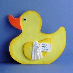 Get Well Soon cute Duck shaped card Handmade by pollypurplehorse,