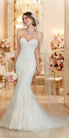 Stella York Lace Over Satin Fit and Flare Wedding Dress style 6286 a