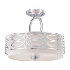 Nuvo Lighting Modern Semi-Flushmount Light with Grey Shade in Polished Nickel Finish   60-4629   Destination Lighting