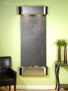 Water Feature Wall Mount Vertical Inspiration Falls Black FeatherStone Stainless Steel Rounded IFR