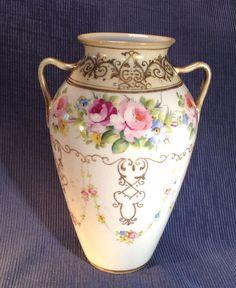 NIPPON  Handled Vase, Hand Painted, Gilding & Moriage Beading, Noritake/Morimura #NoritakeMorimura