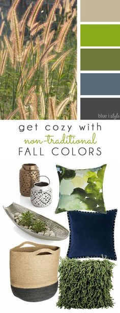 COZY FALL COLORS! A simple mood board to help you bring these non-traditional fall colors of green and blue into your home decor.