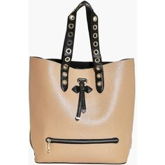 Boohoo Heidi Eyelet Detail Shopper Day Bag ($16) ❤ liked on Polyvore featuring bags, handbags, tote bags, beige tote bag, beige purse, shopper tote handbags, grommet handbags and shopping bag
