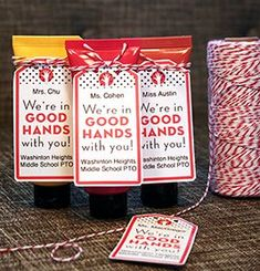 Hand Lotion Tags | 9 Quick and Easy Teacher Appreciation Gifts | PTOToday.com