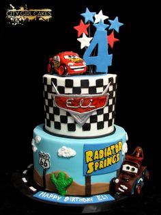 Cars with Lightning McQueen and Mater 4th Birthday Cakes, Cars Birthday Parties, Lighting Mcqueen Cake, Lightning Mcqueen Birthday Cake, Race Car Cakes, Queen Cakes, Babyshower, Paw Patrol Cake, Party Cakes