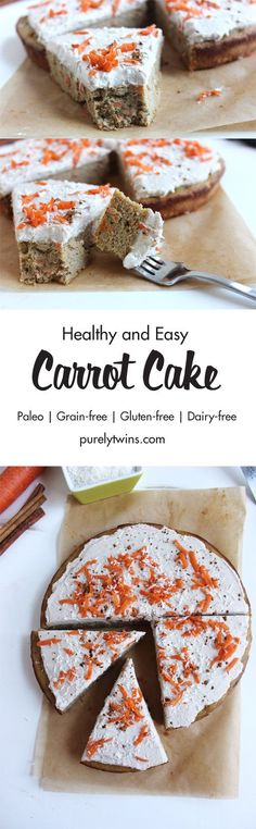 Healthy and easy carrot cake with a dairy free coconut cream frosting. Paleo dessert. If you are looking for a carrot cake recipe that is gluten-free and grain-free this is your recipe. A must make recipe if you love carrot cake and simple recipes. This carrot cake is made using a blender.