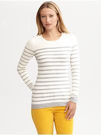 Striped button-shoulder pullover