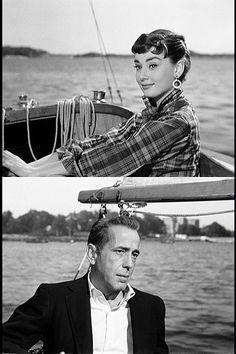 Audrey Hepburn and Humphrey Bogart in SABRINA (1954).