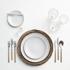 RENT: Natural Woven Chargers + Heath Ceramics in Opaque White + Danish Flatware in Teak + Early American Pressed Glass Goblets + Vintage Champagne Coupes + Antique Crystal Salt Cellars