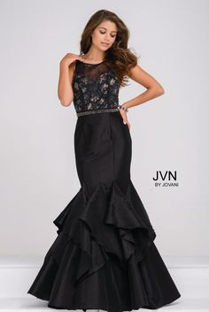 JVN Prom Collection Style JVN50200B in Black, Sz. 18, $500 Available at Debra's Bridal Shop. Visit us at 9365 Philips Hwy., Jacksonville, Fl. 32256