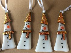 Fused Glass Snowman Christmas Tree Decoration by ArtGlassByJessica