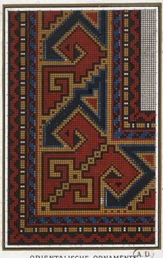 This Pin was discovered by rab Folk Embroidery, Embroidery Patterns Free, Cross Stitch Embroidery, Cross Stitch Borders, Cross Stitch Designs, Cross Stitch Patterns, Cross Stitch Pictures, Tribal Rug, Rugs On Carpet