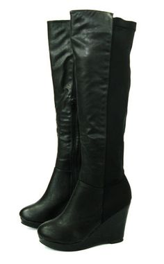 CALF STRETCH WOMANS WIDE LADIES KNEE HIGH WEDGE HEEL PLATFORM BLACK BIKER BOOTS | eBay