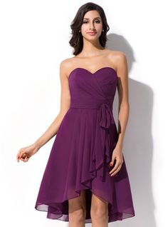 A-Line/Princess Sweetheart Asymmetrical Chiffon Bridesmaid Dress With Bow(s) Cascading Ruffles