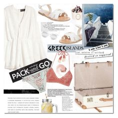 """Pack and Go: Greek Islands"" by aguniaaa ❤ liked on Polyvore featuring Globe-Trotter, H&M, Ancient Greek Sandals, Billabong, SHE MADE ME, Quay and NARS Cosmetics"