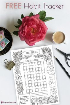 Download my free hand-drawn printable tracker (colouring page)
