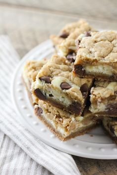 The BEST Chocolate Chip Cookie Cheesecake Bars | Baked in AZ