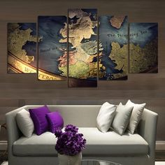 Large Framed Game of Thrones Map Canvas Print Wall Art Home Decor