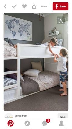 Awesome boy's grey and blue shared bedroom with low bunk beds Ikea Bedroom Design, Bedroom Designs, Bed Designs, Kura Ikea, Ikea Bunk Bed Hack, Ikea Kids Bed, Shared Boys Rooms, Rooms For Boys, Childrens Bedrooms Shared