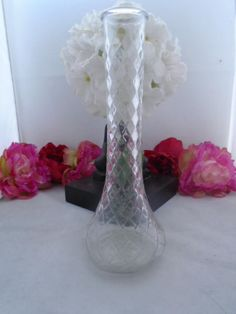 Vintage Clear Glass Bud Vase Made by the HOOSIERS Glass Company and measures 9 inches tall and is Clear Glass Bud Vase. Great Collectible.