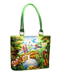 Take a look at this Green & Blue Parrot Hand-Painted Tote by Biacci on #zulily today! $90 !!