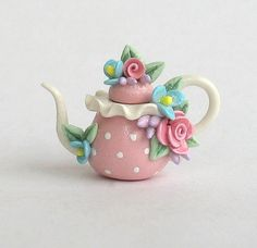 Miniature Mixed Floral Polka Dot Teapot OOAK by ArtisticSpirit