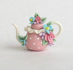 Miniature Mixed Floral Polka Dot Teapot OOAK by ArtisticSpirit