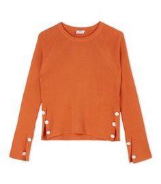 ShopBazaar Edun Orange Ribbed Button Sweater MAIN
