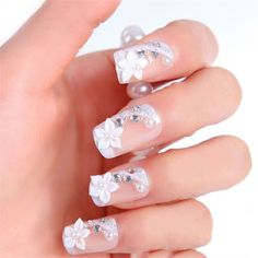 Other Nail Care Bride Wedding False Rhinestone Fake Nails Pearls Diamonds Shining Tips Pop Fall Wedding Makeup, Wedding Nails For Bride, Bride Nails, Diy Wedding Favors, Wedding Attire, Diamond Nail Art, Nail Decorations, Nail Art Diy, Press On Nails