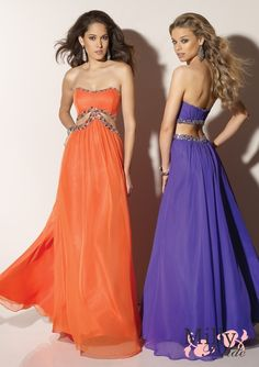 A-line strapless beaded tulle orange/purple Evening Dresses 2012 EDM049 Please repin and share.:)