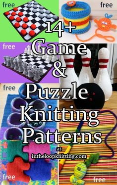 Knitting Patterns for Games and Puzzles. Most patterns are free. Includes chess, checkers, mancala, jigsaw puzzles, bowling, carnival games, and more