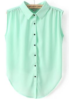 Green Lapel Sleeveless Buttons Chiffon Blouse pictures