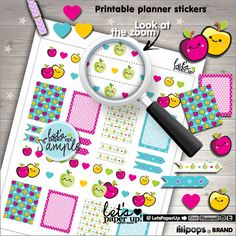 Apple Stickers, Printable Planner Stickers, Weekly Stickers, Fruit Stickers, Summer Stickers, Erin Condren, Planner Accessories, Weekly Kit