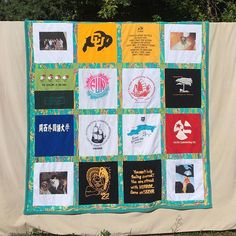 Hope you all had a great 4th celebrating our beautiful country and time with family and friends. Another finished t shirt quilt to show you. It doesn't look like the majority of my t shirt quilts.  But this is the style or design that this customer wanted