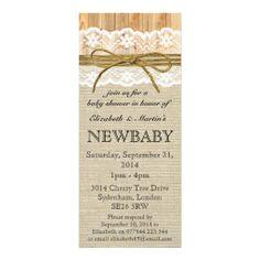 Ivory Lace & Twine Bow Burlap & Wood Baby Shower Invitation