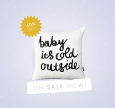 Baby it's Cold Outside Throw Cushion van ZanaProducts op Etsy, $17,00