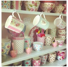 Cath Kidston china, cottage kitchen shelves