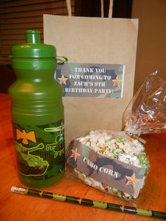 "Camo Party Favors.  ""Camo Corn""  Camo colored popcorn!"