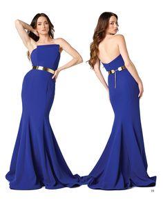 Vestido largo sirena en color azul real