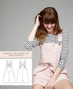 Women / Girls Dungarees & Dungaree dress sewing patterns UK at Makerist Dress Sewing Patterns, Sewing Patterns Free, Sewing Hacks, Sewing Tutorials, Sewing Tips, Sewing Ideas, Sewing Crafts, Salopette Short, Dungaree Dress