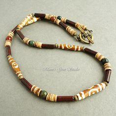 Mens Necklace Tribal Style Beaded Jewelry  Bone by mamisgemstudio, $29.95