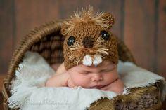 Baby Beaver Hat Size Newborn 3m 6m Brown Crochet Soft Photo Prop Baby Boys Girls Clothes Gender Neutral CUTE Halloween Perfect year Round