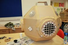 giant cardboard diving helmet. Collaboration with 4 others. Lots of fun.