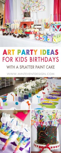 Little Artist Rainbow Birthday Party — Mint Event Design - Kinderspiele Art Party Foods, Art Party Activities, Art Party Cakes, Art Party Decorations, Cake Art, Unique Birthday Party Ideas, 9th Birthday Parties, Rainbow Birthday Party, Ideas Party
