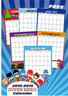 FREE 2018-2019 Super Hero Printable Calendar - this is such a fun, free printable calendar for toddler, preschool, kindergarten, first grade, 2nd grade, and 3rd grade kids to keep track of upcoming events, school homework, extracurricular events, or simply to learn a about the days, months, and year calendar. #calendars #2019calendar #freecalendars #calendarsforkids #superhero #superheroprintables #homeschool #kindegarten