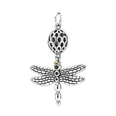 Pandora Silver, 14ct Gold & Black Spinel Dragonfly Pendant 390336CZK
