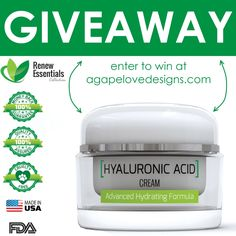 Agape Love Designs: Hyaluronic Acid Cream Giveaway & Discount!