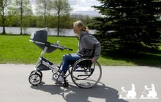 "judgernaut: "" lickystickypickywe: "" I love when people think up clever stuff: Wheelchair Adaptive Stroller. Parenting in the first stages of infancy can be incredibly challenging – add a mobile. Aide Handicap, Mobiles, Siege Bebe, Wheelchair Accessories, Adaptive Equipment, Mobility Aids, Infancy, Occupational Therapy, Special Needs"