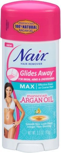 Nair Glides Away Morocan Argan Oil Hair Removal Cream, Bikini Arms & Underarms, 3.3 Oz, Multi
